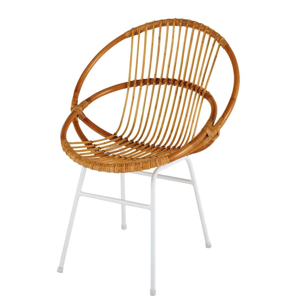 fauteuil en rotin et m tal blanc joy maisons du monde. Black Bedroom Furniture Sets. Home Design Ideas