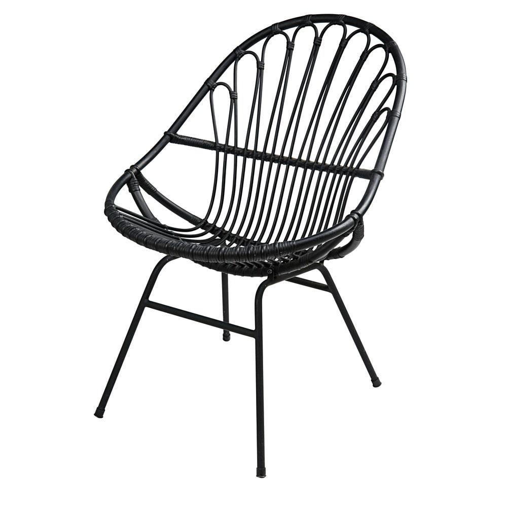 fauteuil rotin noir fauteuil de relaxation en rotin l 39. Black Bedroom Furniture Sets. Home Design Ideas