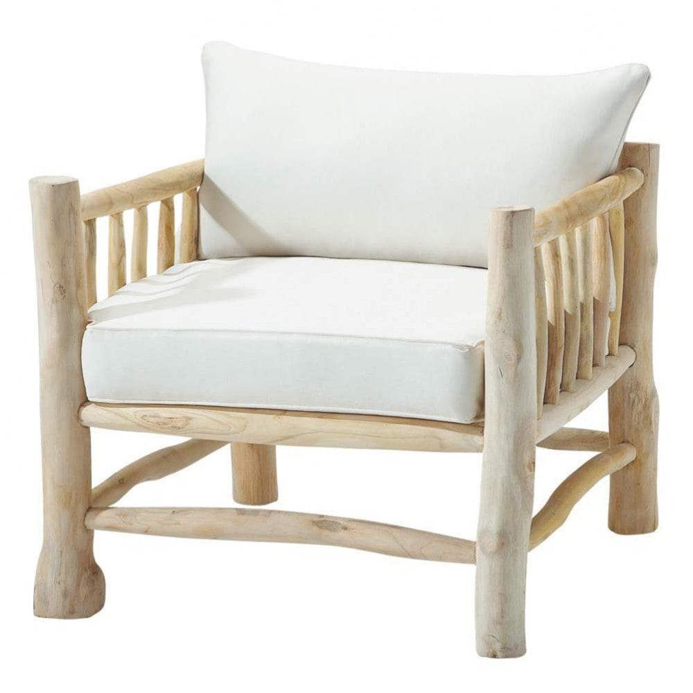 Fauteuil en teck et coton ivoire rivage maisons du monde - Fauteuil deux places ...