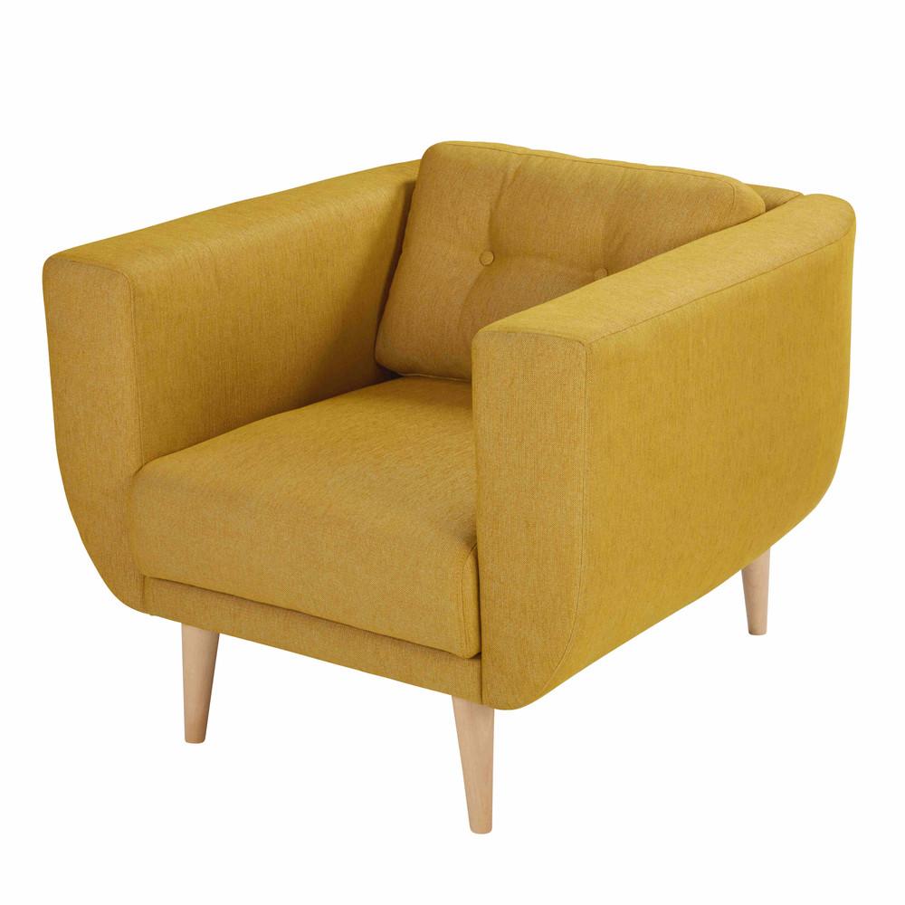 Fauteuil en tissu jaune moutarde gaby maisons du monde - Fauteuil scandinave jaune moutarde ...