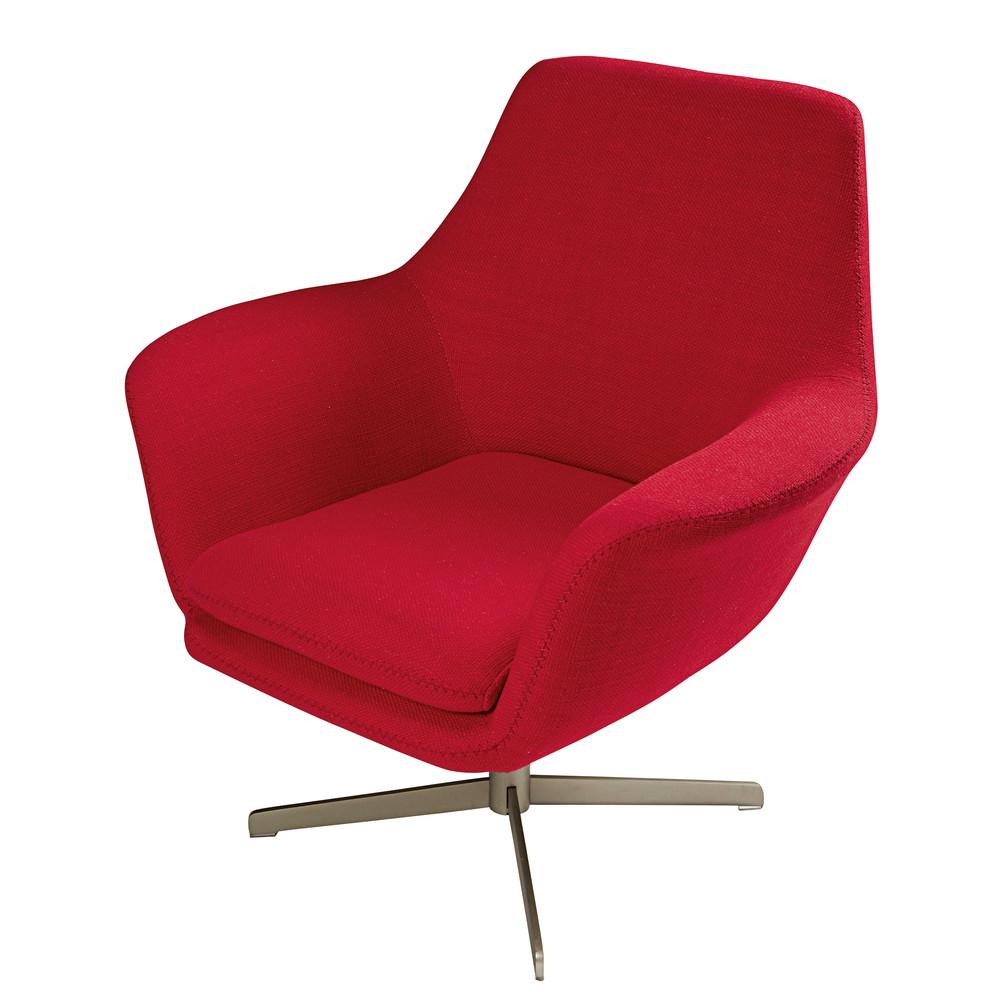 Exceptionnel Fauteuil Rouge Maison Du Monde #7: Fauteuil En Tissu Rouge Et Métal