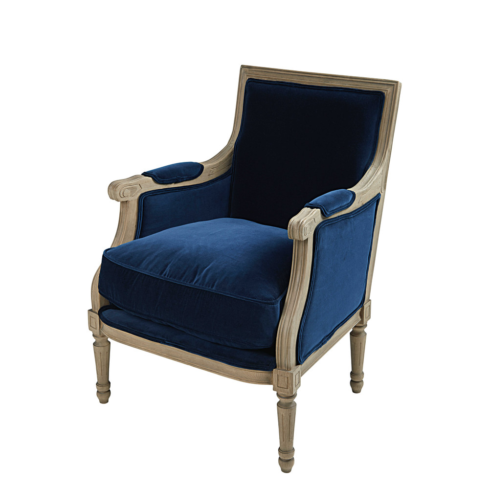 fauteuil en velours bleu nuit casanova maisons du monde. Black Bedroom Furniture Sets. Home Design Ideas