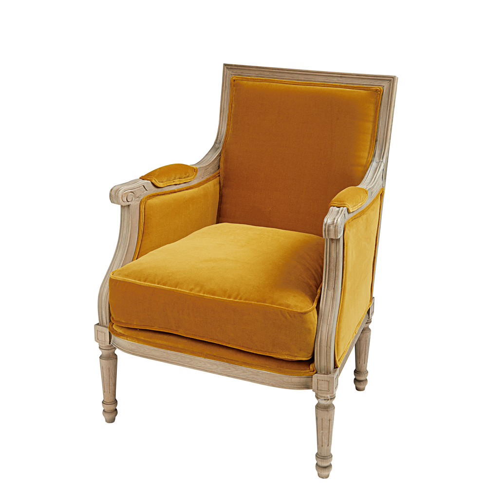 fauteuil en velours de coton ocre et ch ne casanova maisons du monde. Black Bedroom Furniture Sets. Home Design Ideas