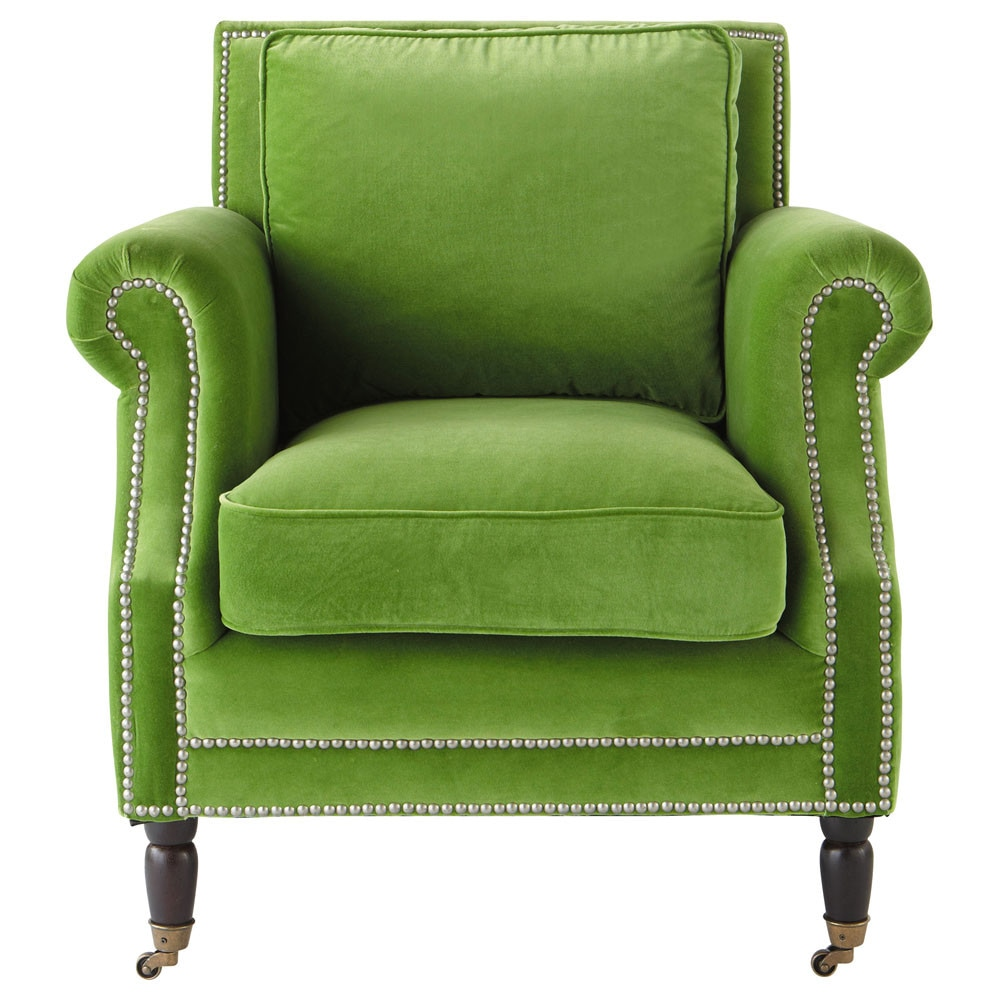 fauteuil en velours vert baudelaire maisons du monde. Black Bedroom Furniture Sets. Home Design Ideas