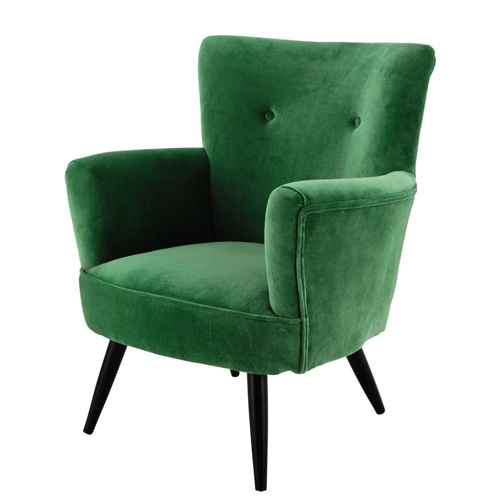 fauteuil en velours vert sao paulo maisons du monde. Black Bedroom Furniture Sets. Home Design Ideas