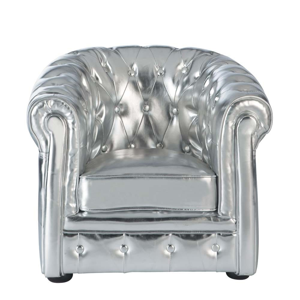 fauteuil enfant argent capitonn chesterfield maisons du. Black Bedroom Furniture Sets. Home Design Ideas