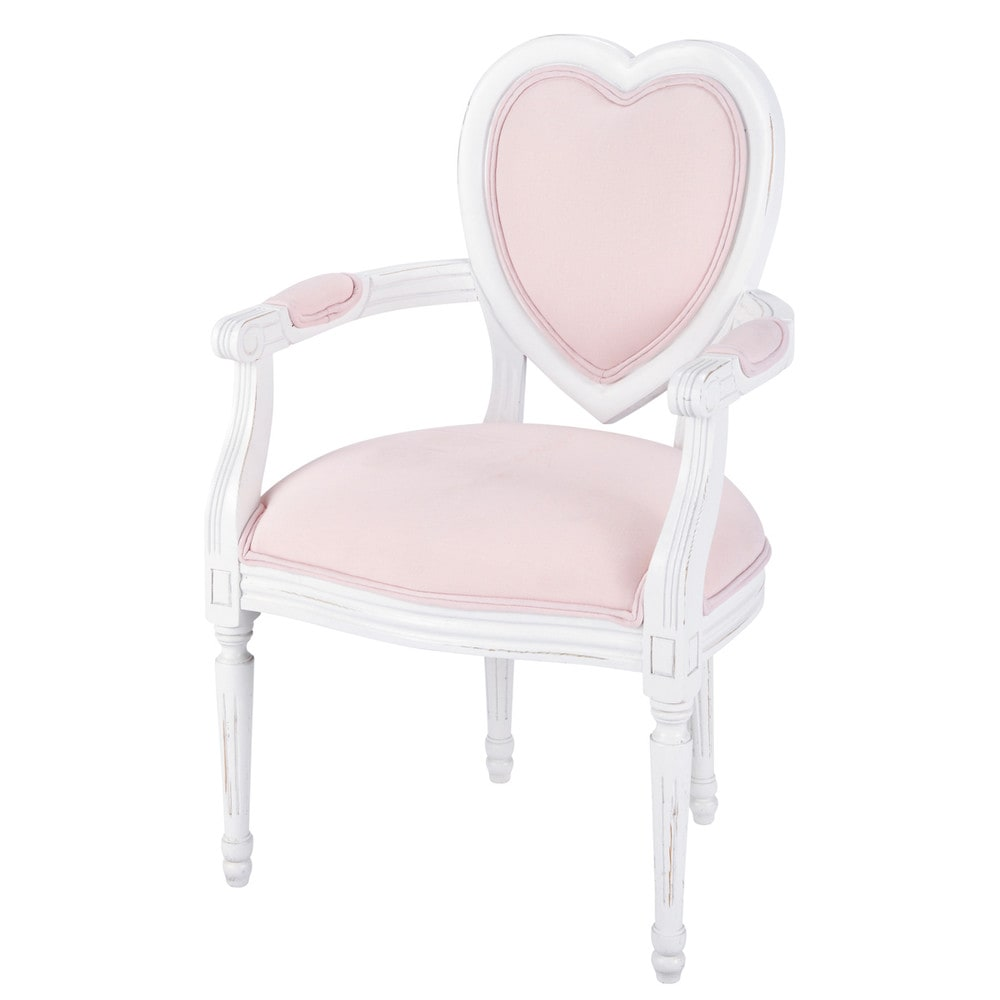 fauteuil enfant en bois et coton rose coeur maisons du monde. Black Bedroom Furniture Sets. Home Design Ideas