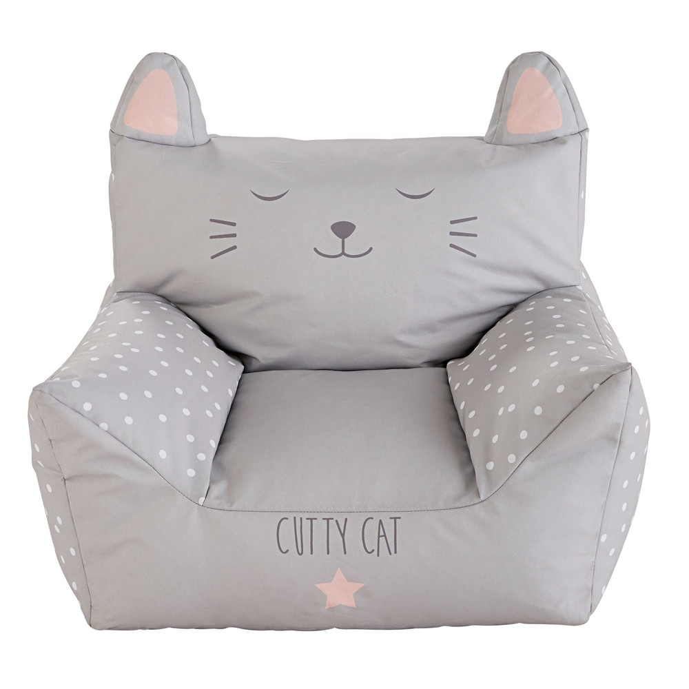 fauteuil enfant en coton imprim gris cats maisons du monde. Black Bedroom Furniture Sets. Home Design Ideas