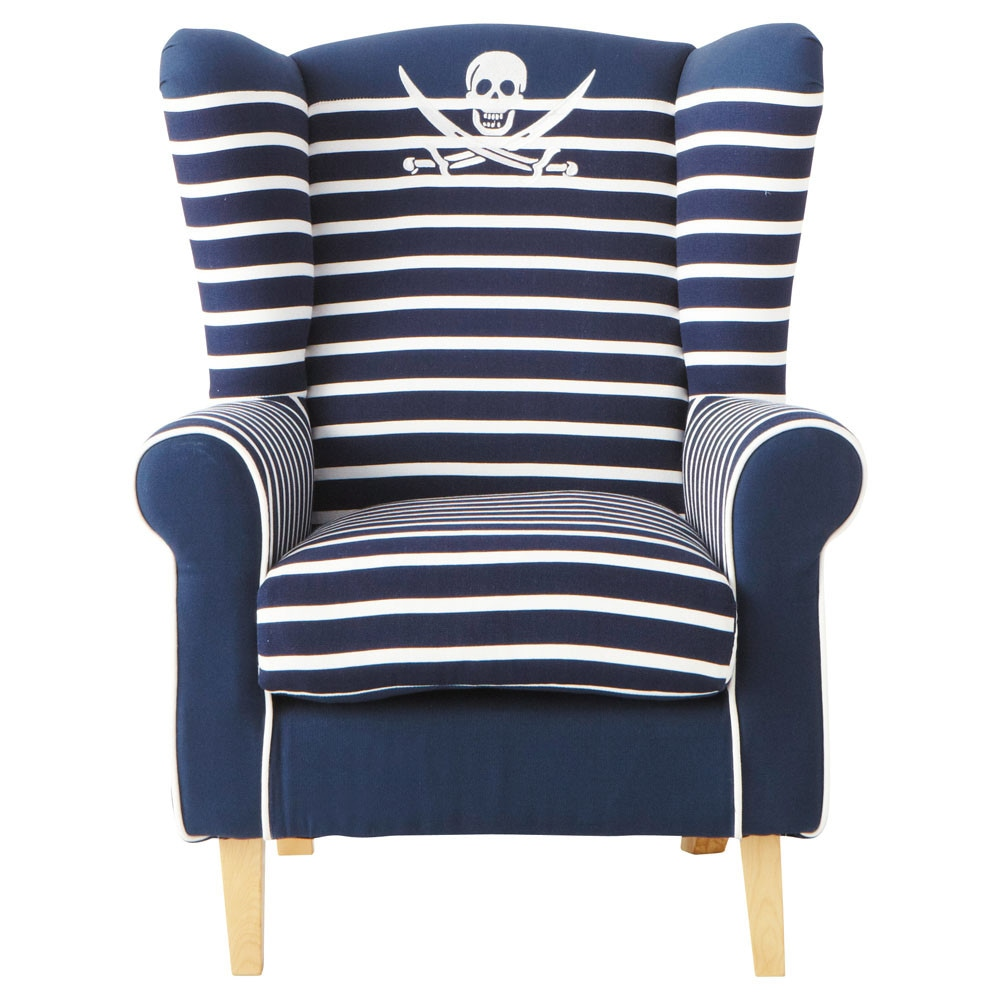 fauteuil enfant en coton ray bleu marine pirate maisons du monde. Black Bedroom Furniture Sets. Home Design Ideas