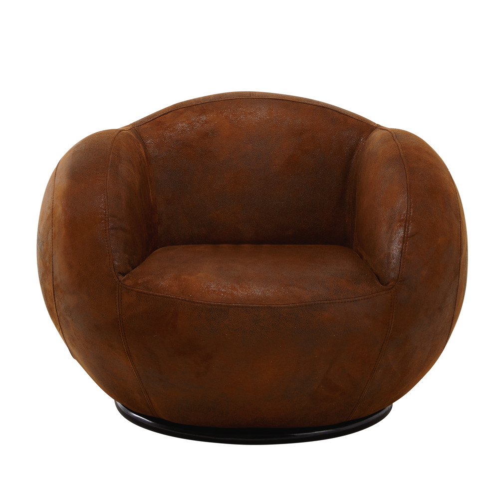 fauteuil enfant en microfibre marron andrews maisons du monde. Black Bedroom Furniture Sets. Home Design Ideas