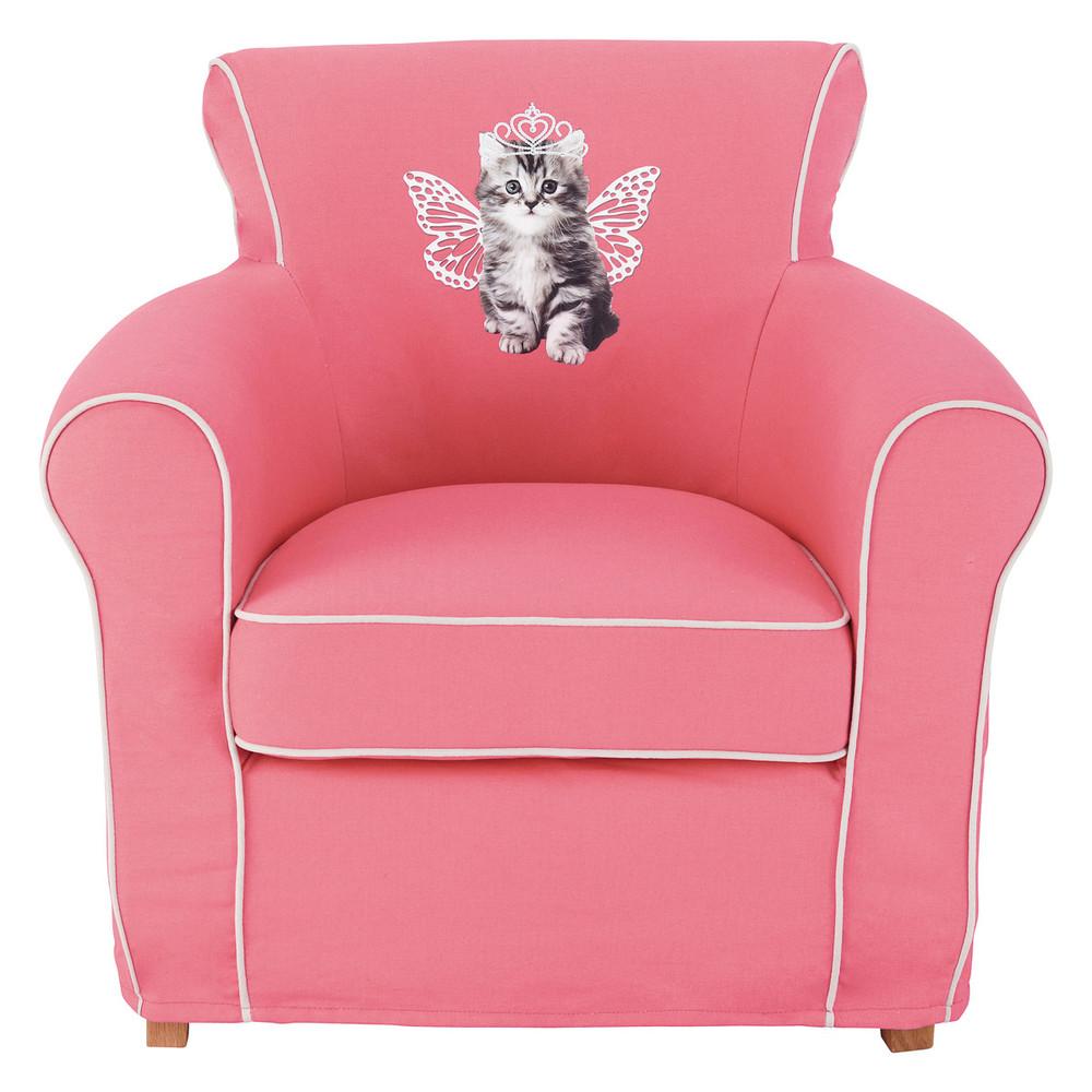fauteuil enfant rose chat lilou maisons du monde. Black Bedroom Furniture Sets. Home Design Ideas