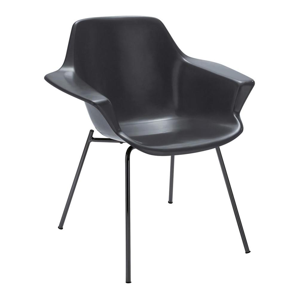 fauteuil guariche en fibre de verre gris anthracite. Black Bedroom Furniture Sets. Home Design Ideas