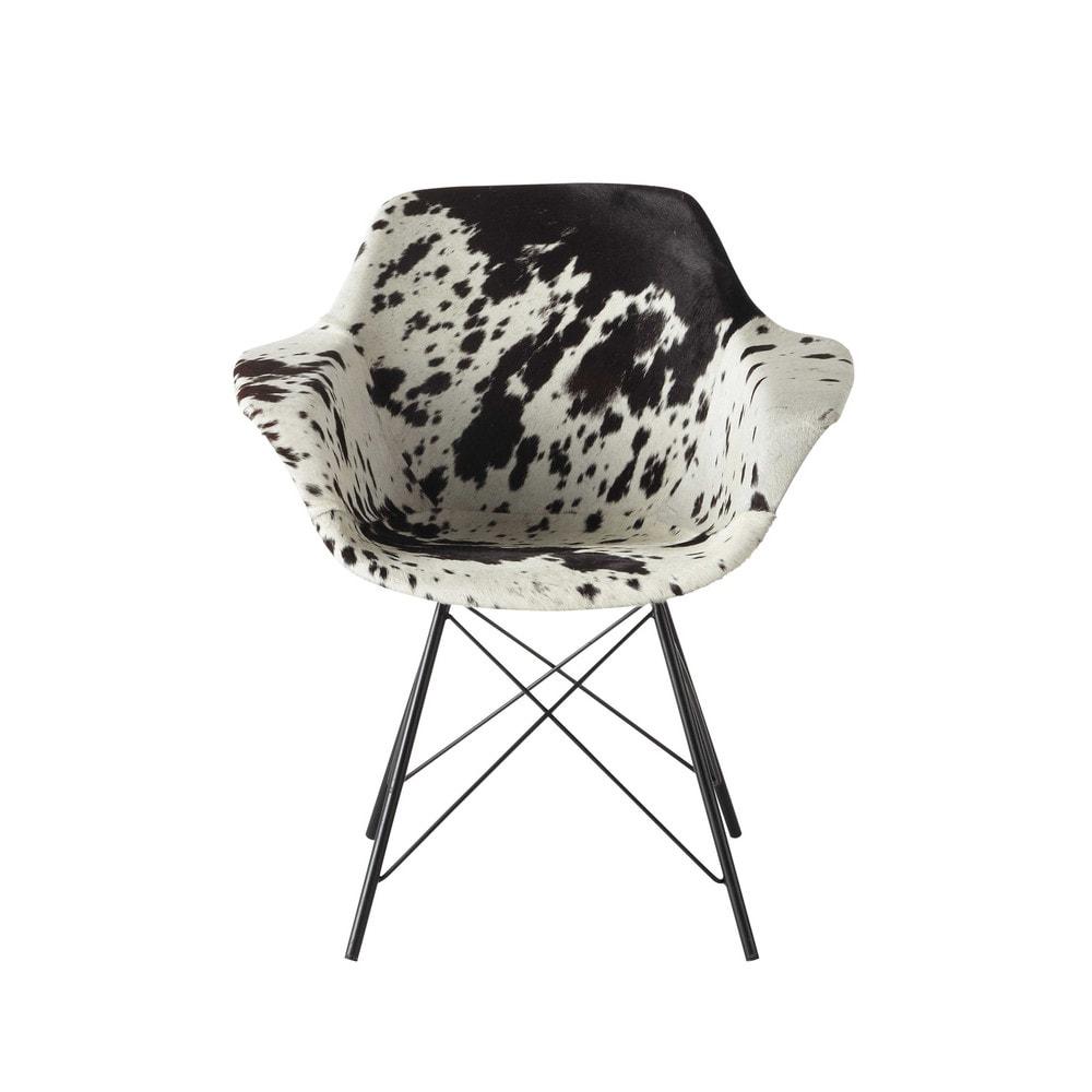 fauteuil guariche en peau de vache vampire maisons du monde. Black Bedroom Furniture Sets. Home Design Ideas