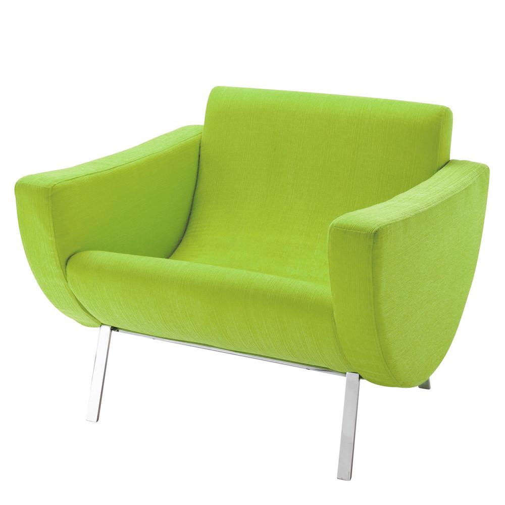 fauteuil guariche en tissu vert mandarine maisons du monde. Black Bedroom Furniture Sets. Home Design Ideas