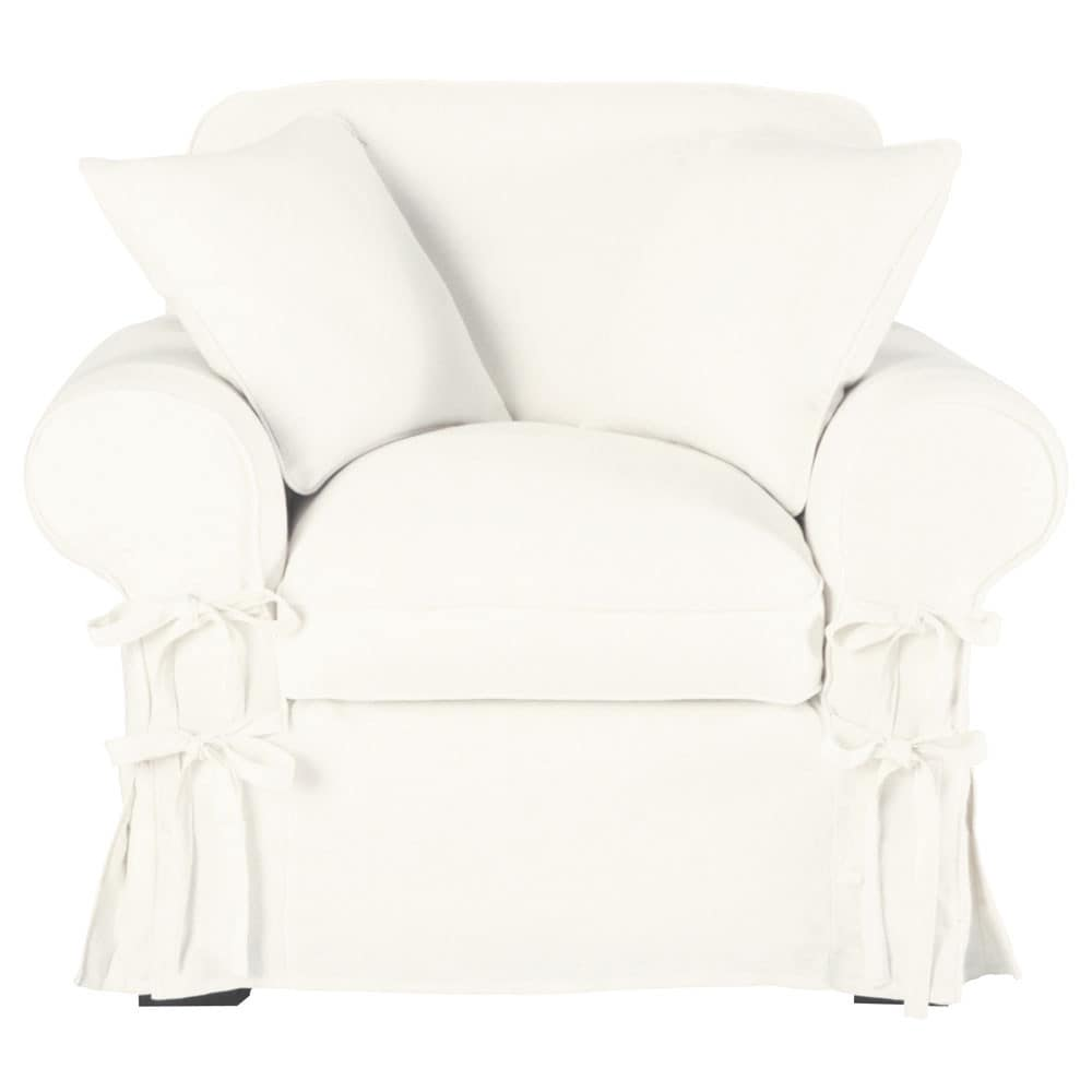 fauteuil lin blanc butterfly maisons du monde. Black Bedroom Furniture Sets. Home Design Ideas