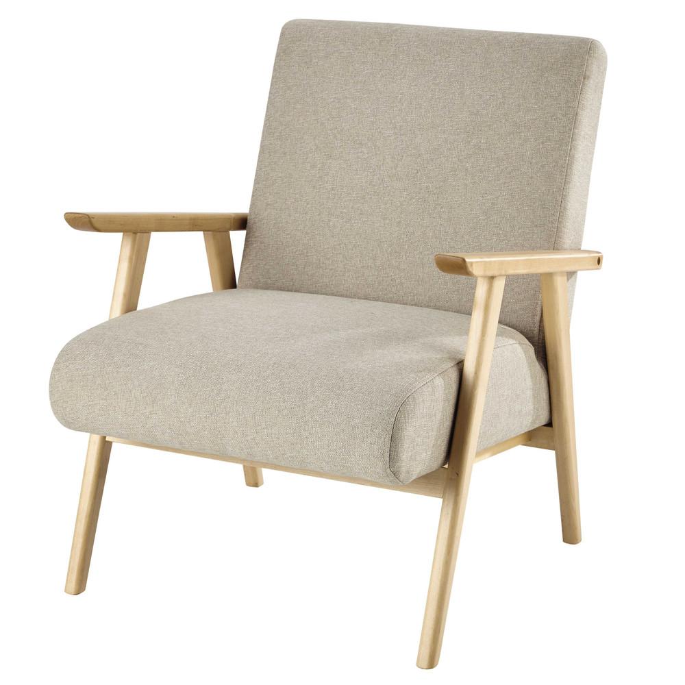 fauteuil met beige bekleding benson maisons du monde. Black Bedroom Furniture Sets. Home Design Ideas