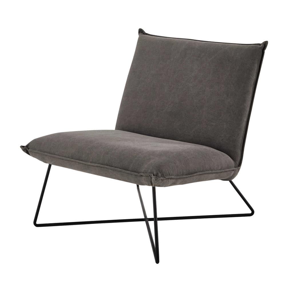 Fauteuil met katoenen bekleding grijs lucas maisons du monde - Maison du monde fauteuil ...