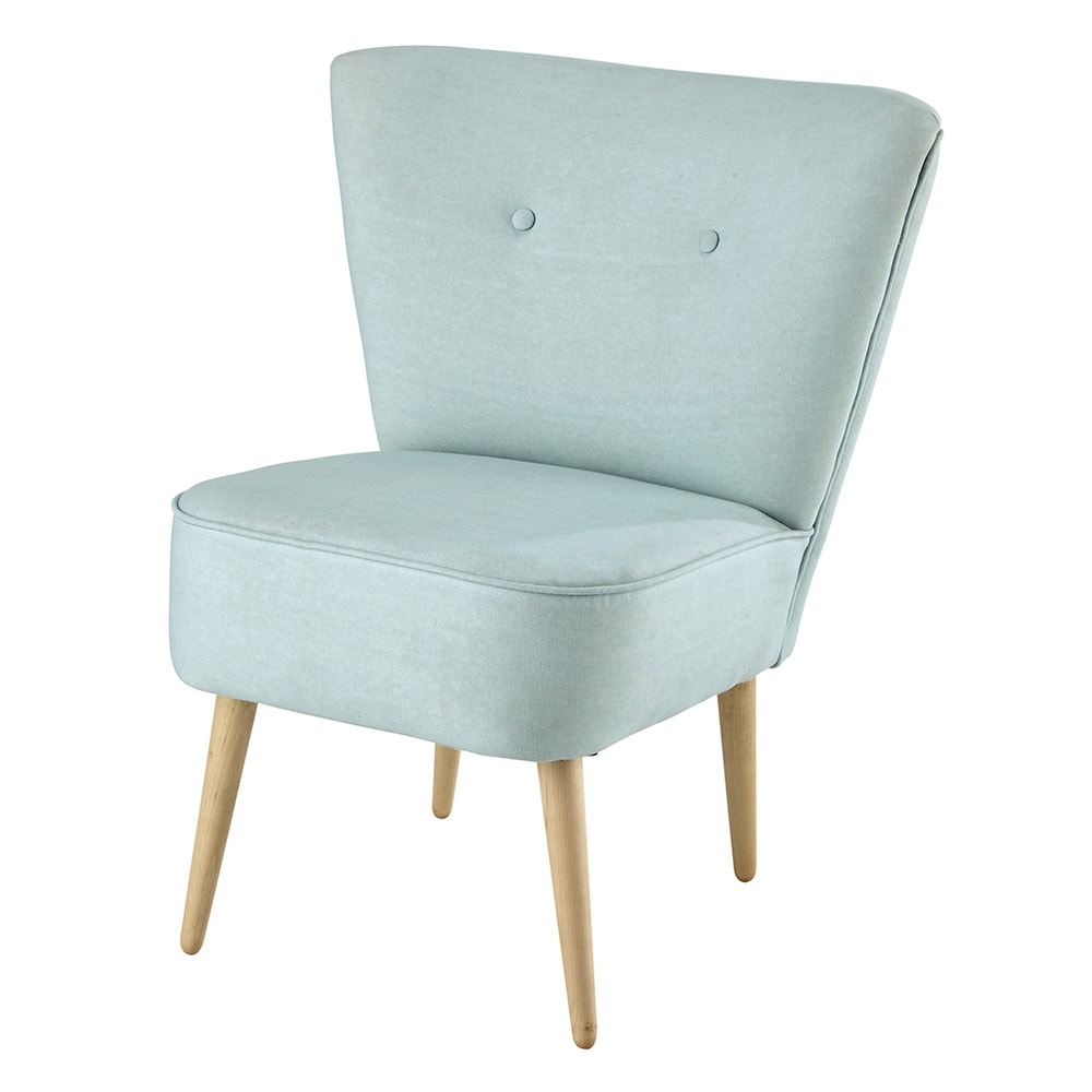 fauteuil met katoenen bekleding vintage stijl turquoise scandinave maisons du monde. Black Bedroom Furniture Sets. Home Design Ideas