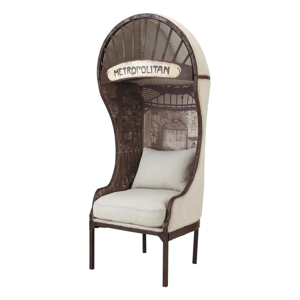 fauteuil m tal et lin carrosse maisons du monde. Black Bedroom Furniture Sets. Home Design Ideas