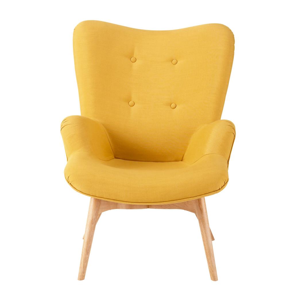 fauteuil scandinave en tissu jaune iceberg maisons du monde. Black Bedroom Furniture Sets. Home Design Ideas