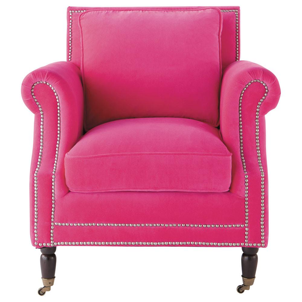 fauteuil velours fuchsia baudelaire maisons du monde. Black Bedroom Furniture Sets. Home Design Ideas