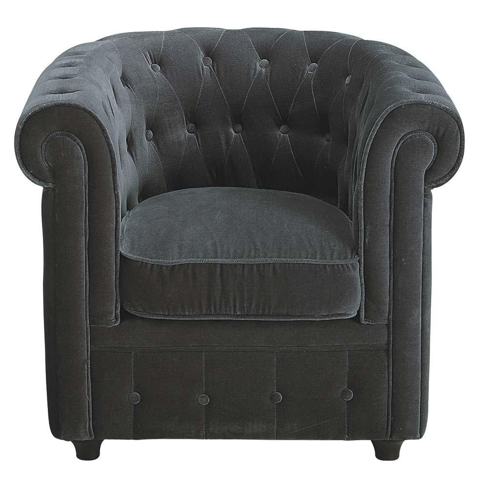 fauteuil velours gris capitonn chesterfield maisons du monde. Black Bedroom Furniture Sets. Home Design Ideas