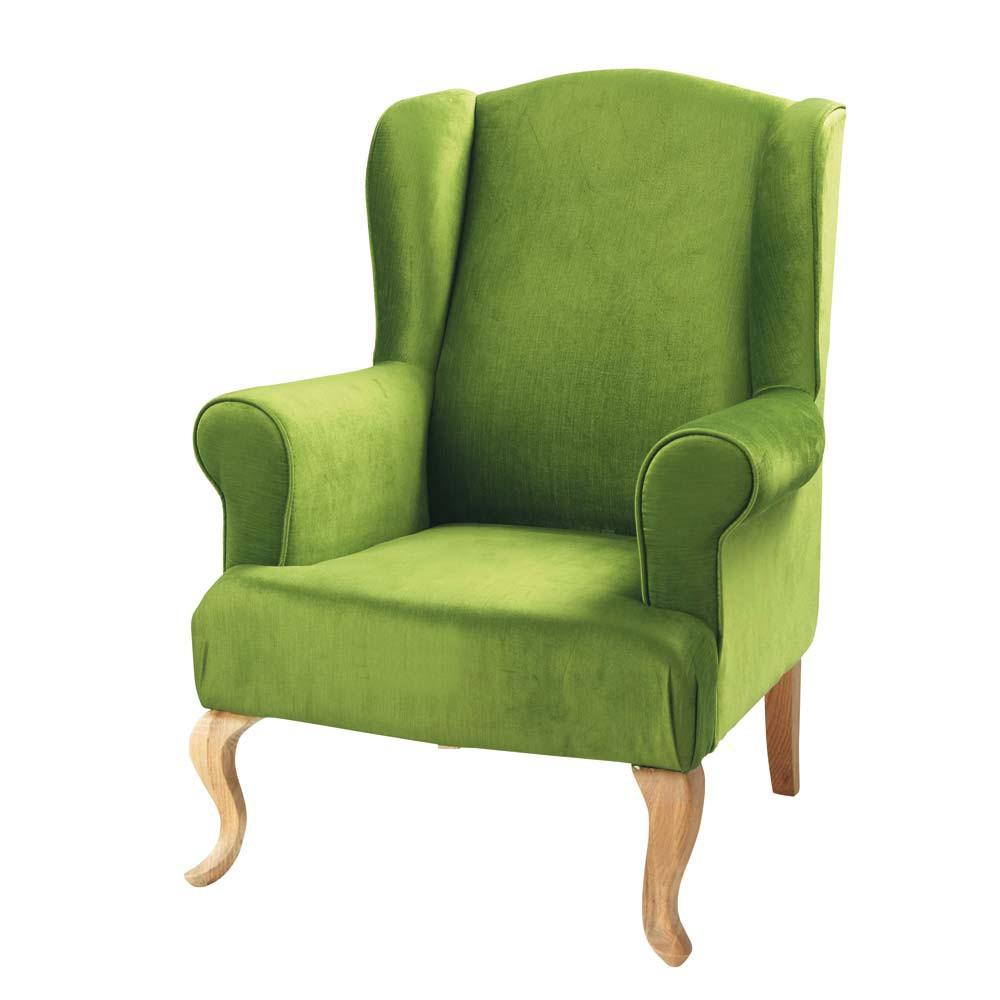 fauteuil vert charlie maisons du monde. Black Bedroom Furniture Sets. Home Design Ideas