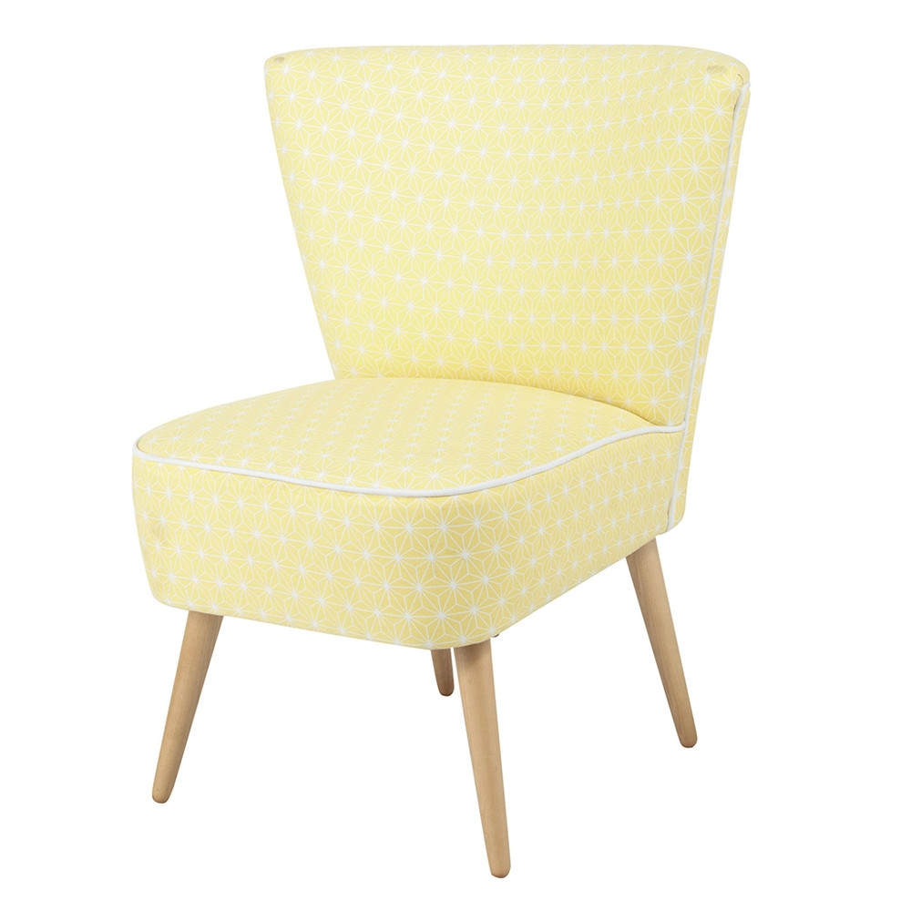 fauteuil vintage motifs en coton jaune scandinave. Black Bedroom Furniture Sets. Home Design Ideas