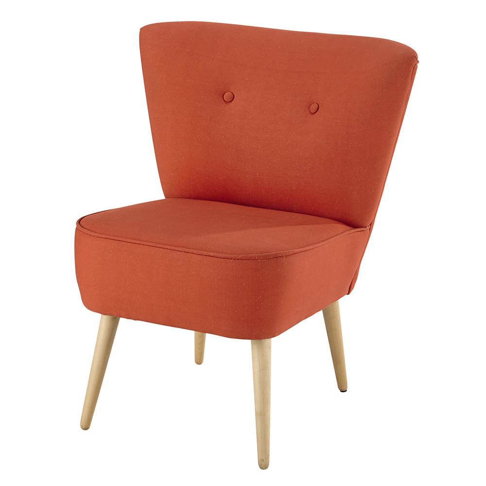 Fauteuil vintage en coton corail scandinave maisons du monde - Maison du monde fauteuil ...