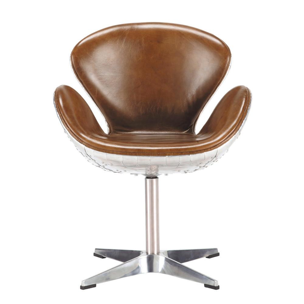 Fauteuil vintage en cuir marron harisson maisons du monde - Maison du monde fauteuil crapaud ...