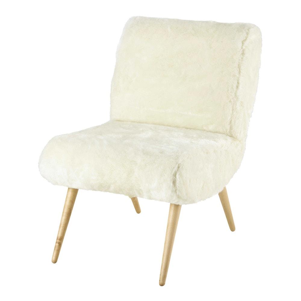 fauteuil vintage en fausse fourrure ivoire cosmos. Black Bedroom Furniture Sets. Home Design Ideas