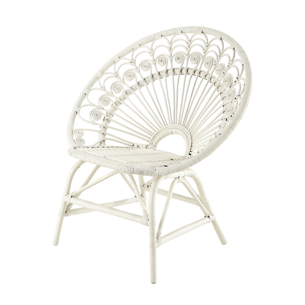 fauteuil vintage en rotin blanc peacock maisons du monde. Black Bedroom Furniture Sets. Home Design Ideas