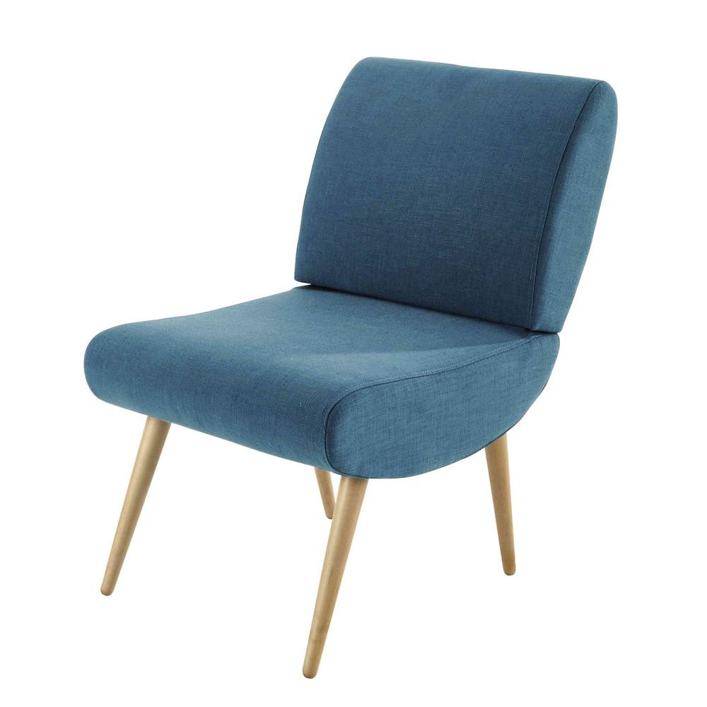 Fauteuil vintage en tissu bleu canard cosmos maisons du monde - Tissu velours bleu canard ...