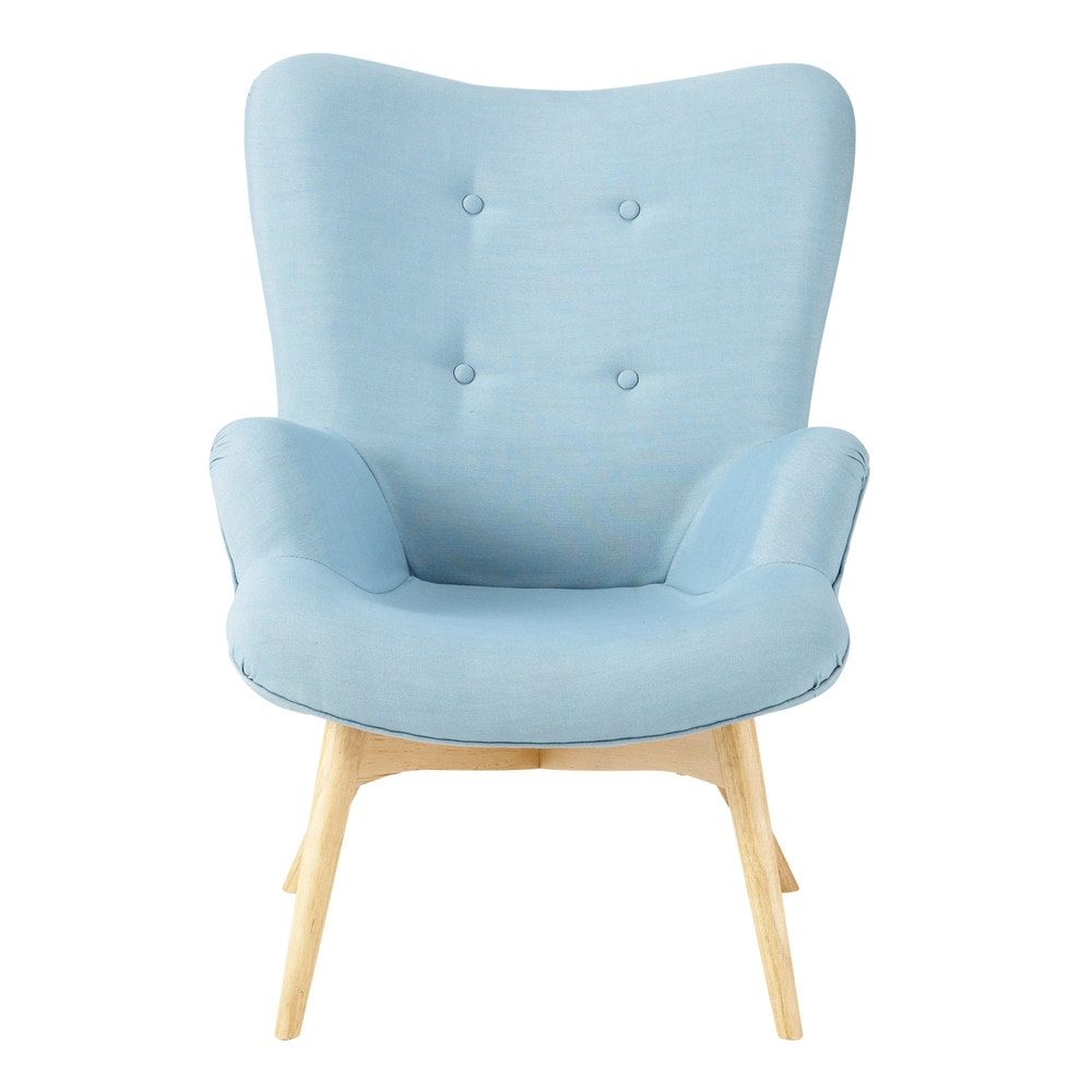 fauteuil vintage en tissu bleu iceberg maisons du monde. Black Bedroom Furniture Sets. Home Design Ideas