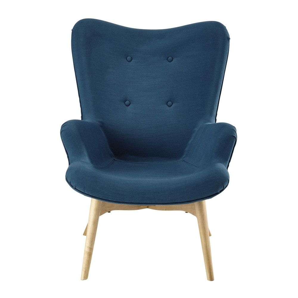 fauteuil vintage en tissu bleu p trole iceberg maisons. Black Bedroom Furniture Sets. Home Design Ideas