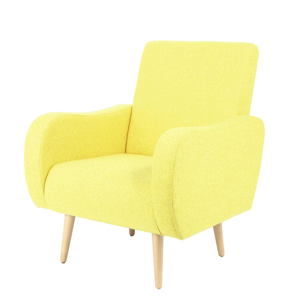 Fauteuil vintage en tissu jaune chin waves maisons du monde for Maison du monde compte