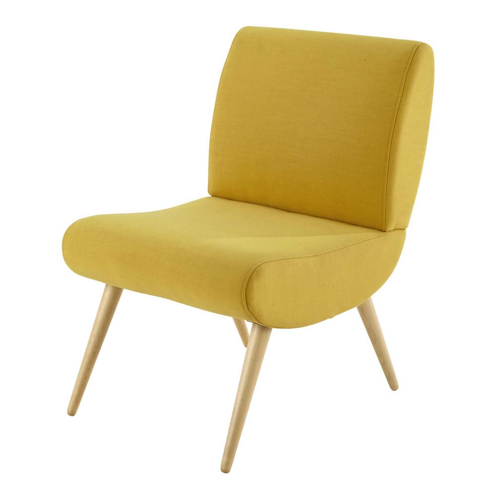 Fauteuil vintage en tissu jaune cosmos maisons du monde - Fauteuil jaune maison du monde ...