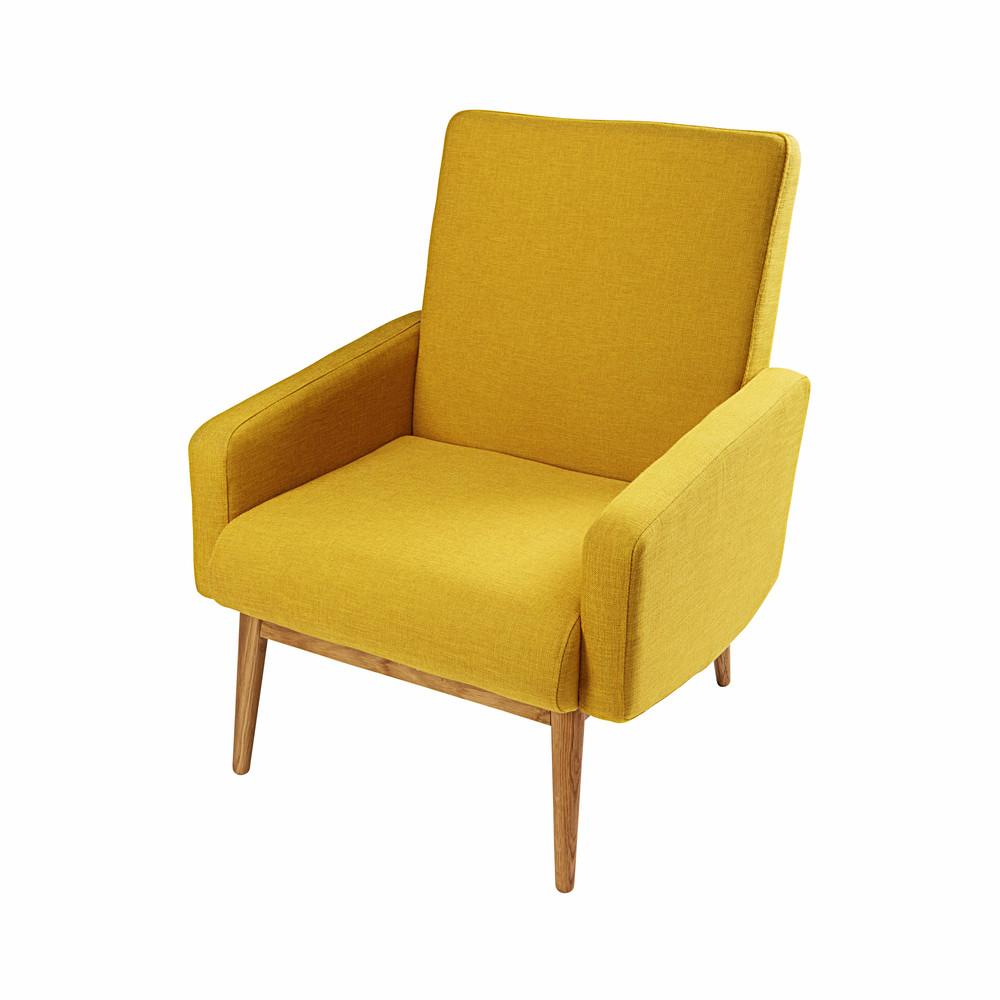 Fauteuil vintage en tissu jaune kelton maisons du monde - Fauteuil vintage jaune ...