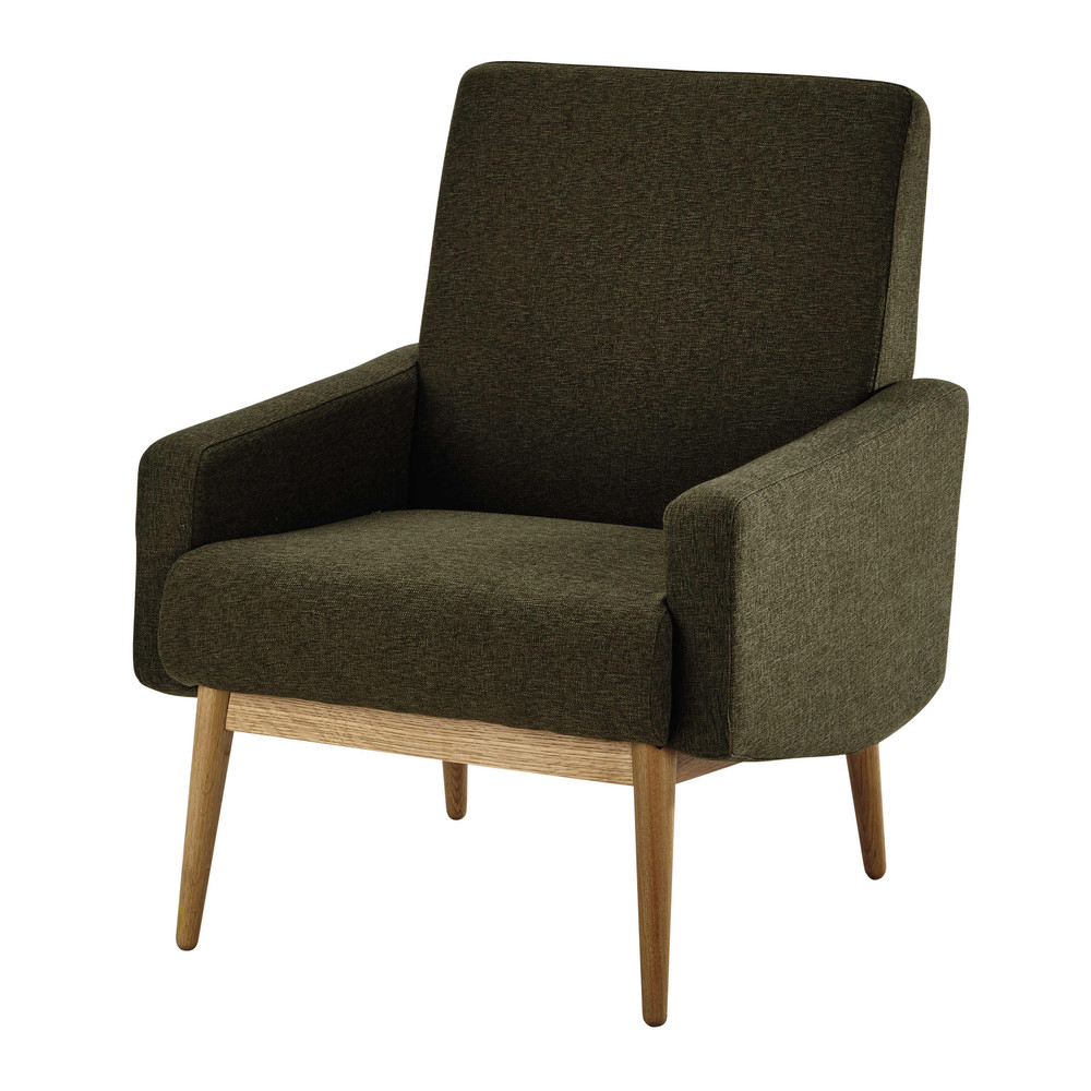 fauteuil vintage en tissu kaki kelton maisons du monde. Black Bedroom Furniture Sets. Home Design Ideas