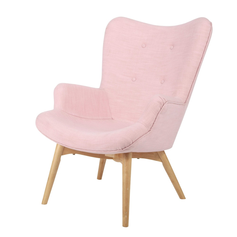 fauteuil vintage en tissu rose iceberg maisons du monde. Black Bedroom Furniture Sets. Home Design Ideas