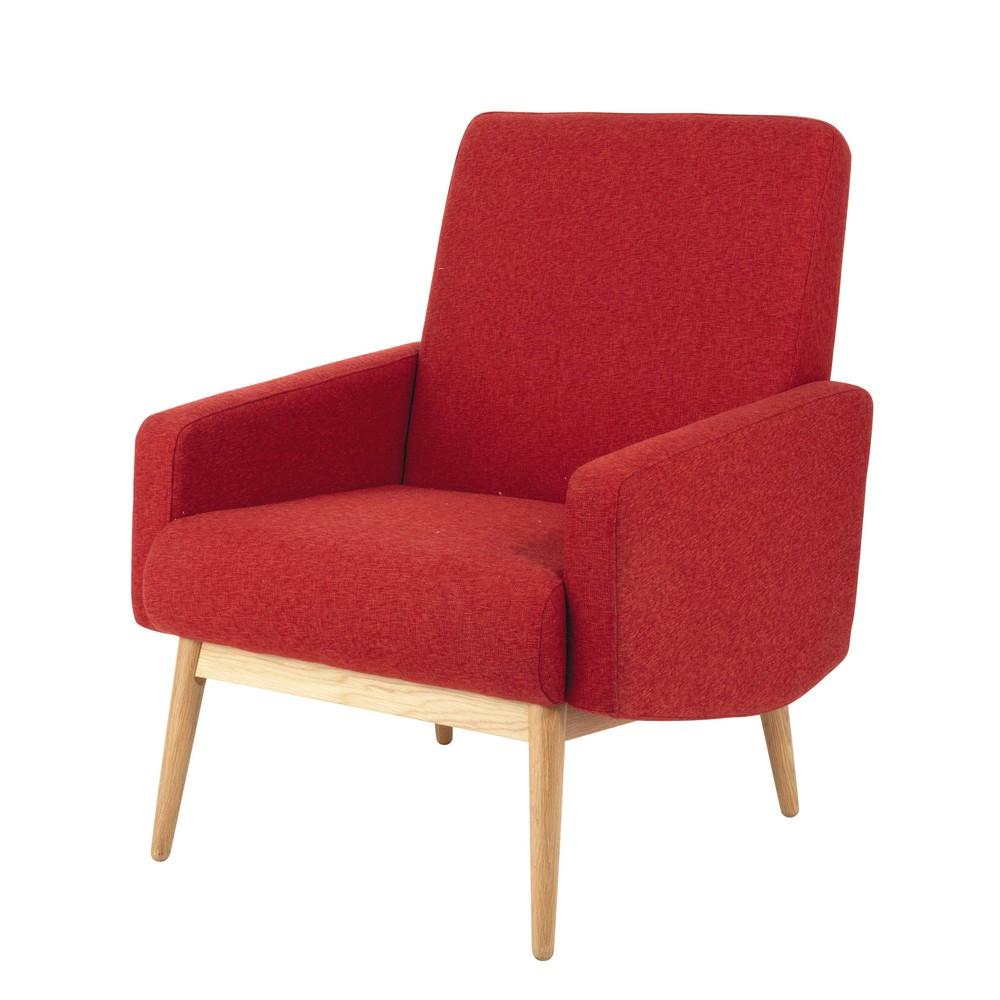 fauteuil vintage en tissu rouge chin kelton maisons du monde. Black Bedroom Furniture Sets. Home Design Ideas