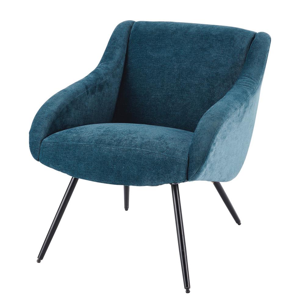 fauteuil vintage en velours bleu et m tal joyce maisons du monde. Black Bedroom Furniture Sets. Home Design Ideas