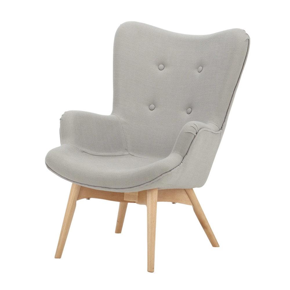 Fauteuil vintage enfant en bois et tissu gris iceberg - La maison du fauteuil ...