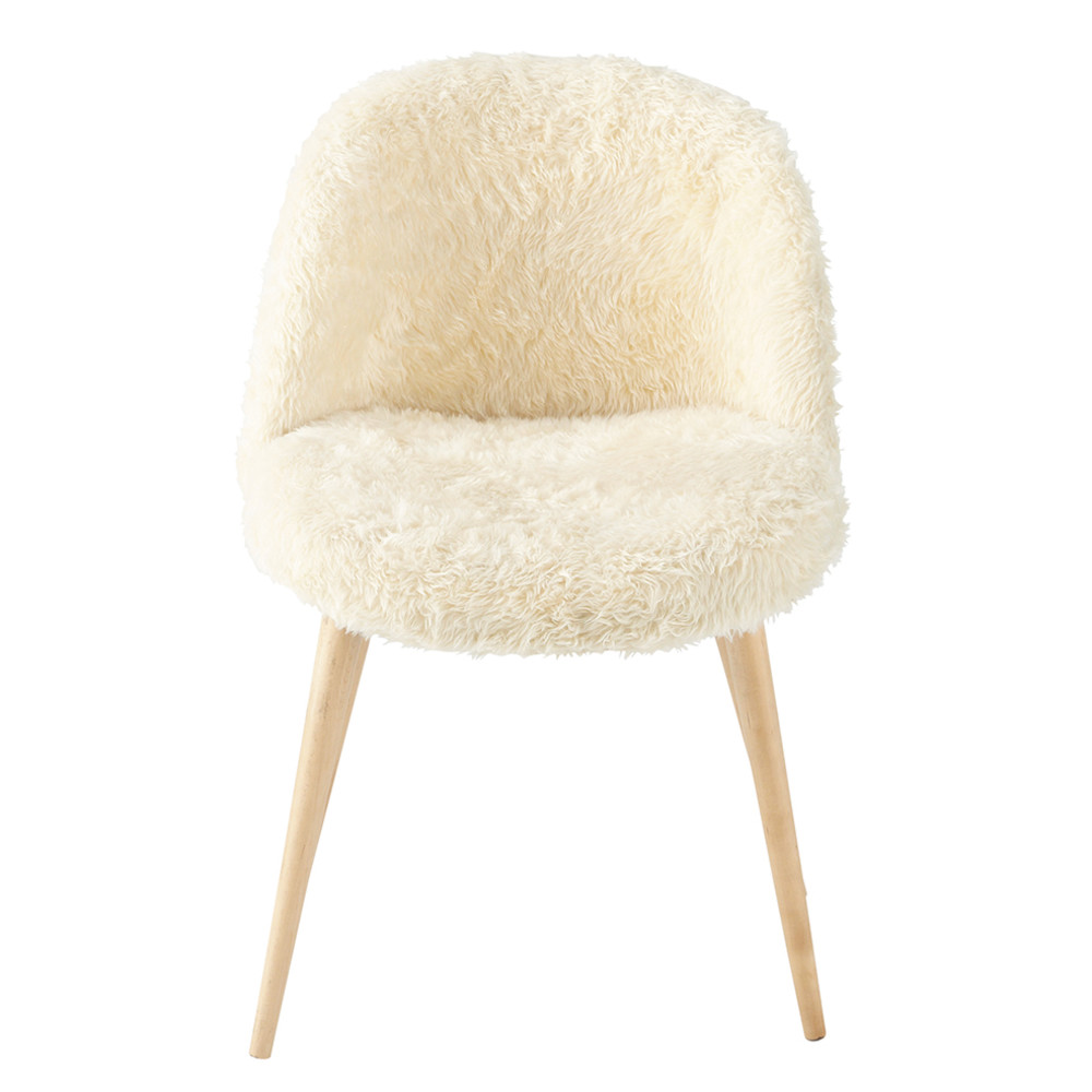 faux fur and solid birch vintage chair in ivory mauricette maisons du monde. Black Bedroom Furniture Sets. Home Design Ideas
