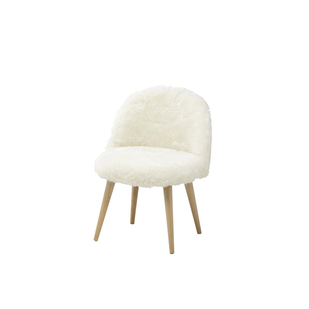 faux fur and solid birch vintage child 39 s chair in ivory mauricette maisons du monde. Black Bedroom Furniture Sets. Home Design Ideas