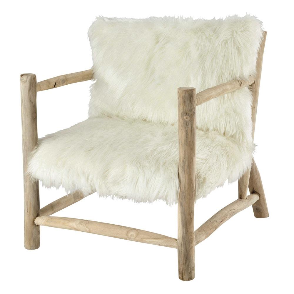 Faux fur armchair in white alaska maisons du monde - Maisons du monde fauteuils ...
