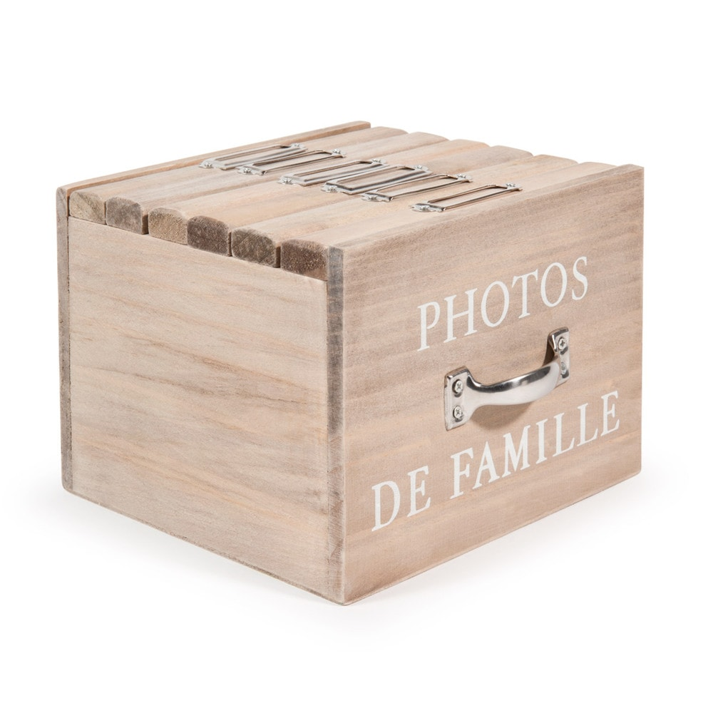 Felicite wooden box with 6 photo albums 13 x 17cm for Maison de monde uk