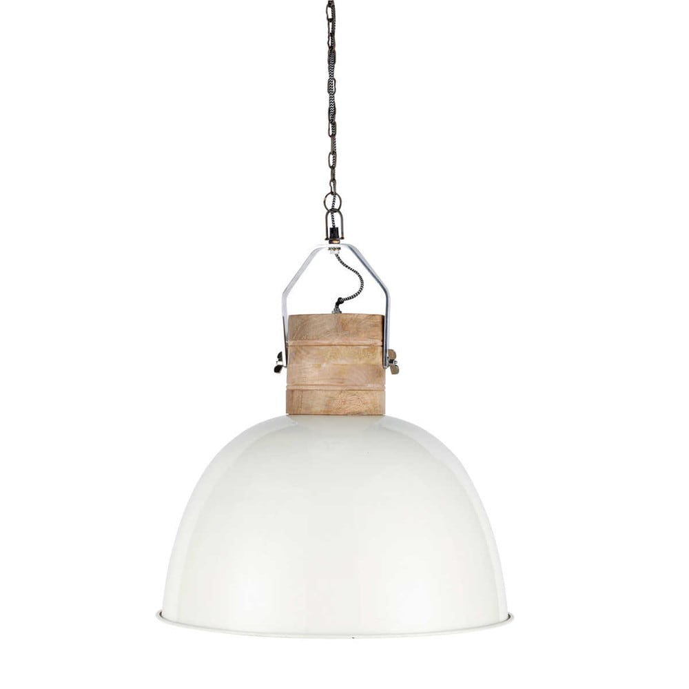 Finmark wood and metal ceiling light in white d 50cm maisons du monde - Suspension metal blanc ...