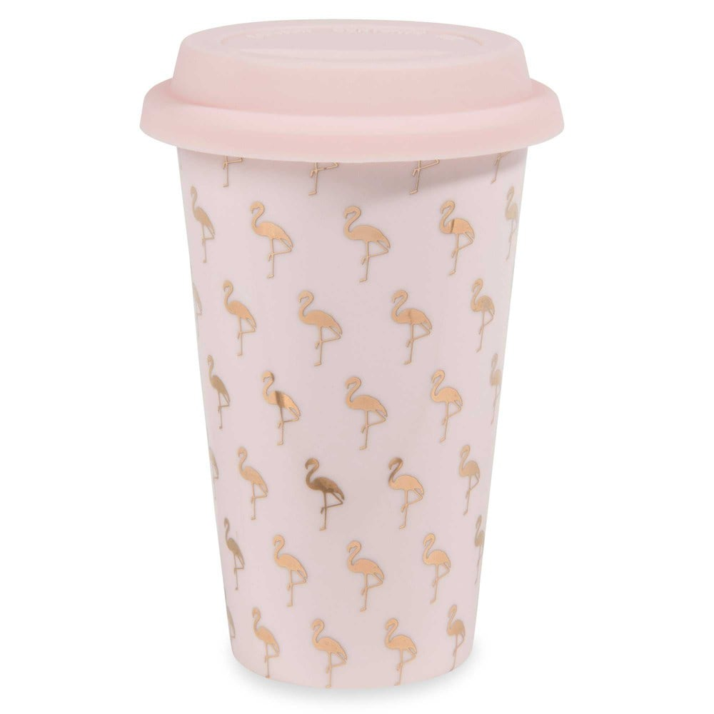 flamingo pink flamingo print china travel cup maisons du monde. Black Bedroom Furniture Sets. Home Design Ideas