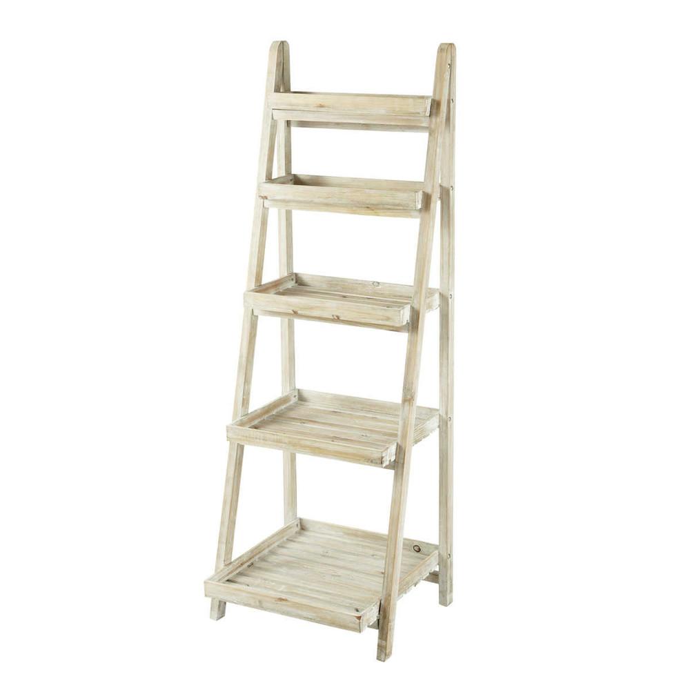 Kitchen Ladder Shelf: FLORENTINE Whitewashed Wood Ladder Shelf Unit W 50cm